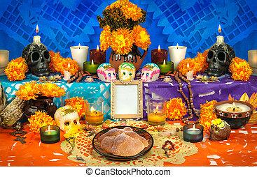 de, muertos), (dia, autel, jour, mexicain, mort