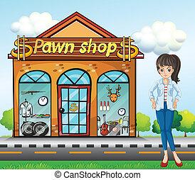 debout, à côté de, dame, pawnshop