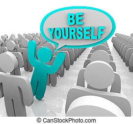 debout, être, différent, foule, -, personne, vous-même, dehors