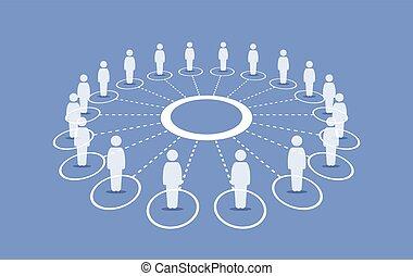 debout, autour de, gens, connecter, chaque, cercle, others.