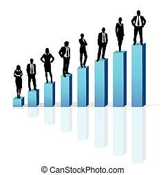 debout, barre, groupe, professionnels, graphique, noir, financier, silhouette, 3d