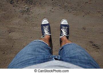 debout, bas, sien, coup, regard, point, pays, vue, pieds, homme, road.