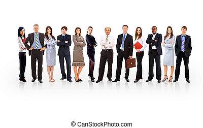 debout, business, sur, formé, jeune, hommes affaires, fond, équipe, blanc