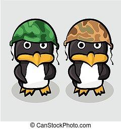 debout, casque, bleu, deux, glace, militaire, manchots