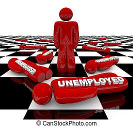 debout, -, chômage, dernier, homme