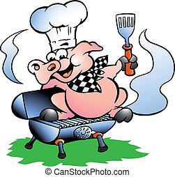 debout, chef cuistot, baril, barbecue, cochon