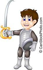 debout, chevalier, apporter, épée, sourire, dessin animé, beau