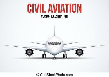 debout, civil, avion, châssis