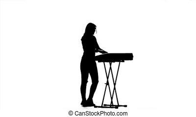 debout, clapping., danse lente, silhouette., mouvement, piano, girl