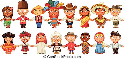 debout, culture, différent, ensemble