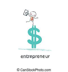 debout, entrepreneur, dollar