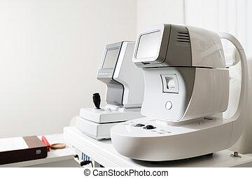 debout, essai, oeil, ophthalmologist's, bureau, moderne, lab., tonometer, appareil