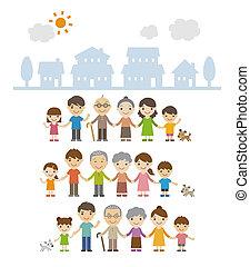 debout, familles, génération, trois, ensemble, maisons, tenant mains, devant