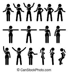 debout, femme, actions, movements., fondamental