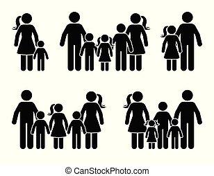debout, figure, famille, grand, ensemble, crosse, icône