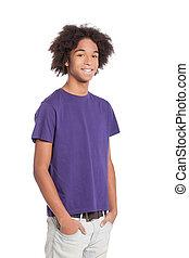 debout, garçon, adolescent, tenue, gai, africaine, jeune, isolé, teenager., quoique, poches, mains, sourire, blanc