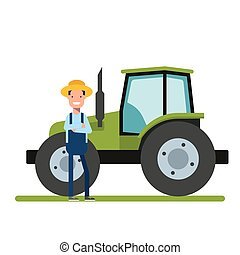 debout, garden., agriculture., ouvrier, tractor., suivant, machinerie, plantations, paysan, nouveau, ou, heureux