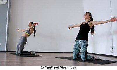 debout, genoux, studio, cuisse, gens, devant, filles, enduisage, engagé, dos, bras, leur, 2, deux, pilates., formation, sides., dévier, dehors