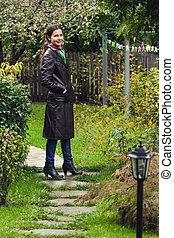 debout, girl, jardin
