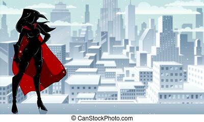 debout, grand, hiver, superheroine, silhouette
