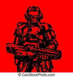 debout, grunge, soldat, assaut, vecteur, graphics., style., rifle.
