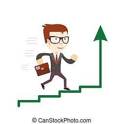 debout, haut., concept, success., business, diagramme, aller, homme affaires