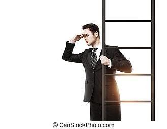 debout, homme affaires, échelle, jeune