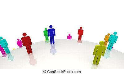 debout, hommes, coloré, 3d, en mouvement