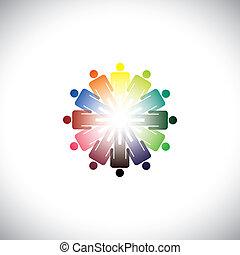 debout, illustration, besoins, graphique, coloré, gens, résumé, mains haut, communauté, autre, divers, ensemble., tenue, chaque, représente, joindre, social