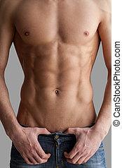debout, image, isolé, tondu, gris, poitrine, musculaire, fond, abs., ciselé, homme