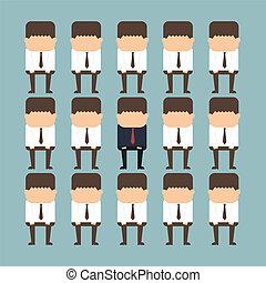 debout, individualité, concept, foule, homme affaires, dehors