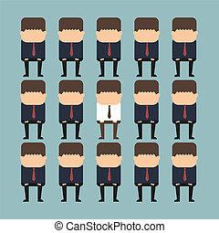 debout, individualité, concept, foule, personne, dehors