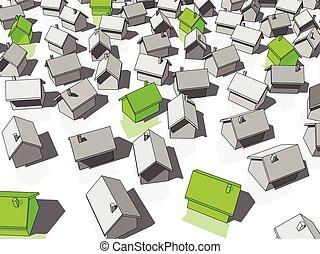 debout, maisons, écologique, vert, autres, dehors