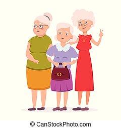 debout, mignon, dames, illustration., plat, avoir, trois, ensemble, isolé, promenade, arrière-plan., vecteur, personne agee, caractères, sourire, vieilli, amis, blanc, dessin animé, femmes