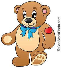 debout, mignon, ours, teddy