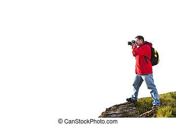 debout, montagne, photographe, sommet, isolé, blanc