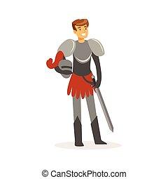 debout, moyen-âge, coloré, chevalier, caractère, illustration, vecteur, sourire, européen, épée