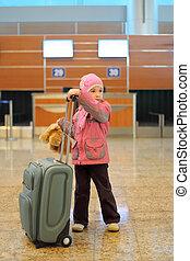 debout, peu, gris, aéroport, valise, seul, girl