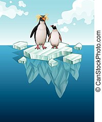 debout, pingouins, mince, glace