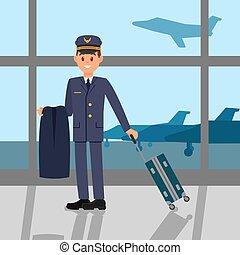 debout, plat, aéroport, fonctionnement, grand, pilote, jeune, airfield., veste, fenêtre, vecteur, conception, tenue, suitcase., capitaine, uniform., vue