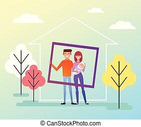 debout, plat, avantages, famille, épouse, family., social, isolé, house., jeune, illustration, mari, vecteur, ensemble, membres, enfant, nouveau, sourire heureux, dessin animé, caractère