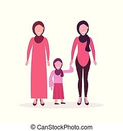 debout, plat, entiers, femme, musulman, trois, ensemble, arabe, longueur, caractères, hijab, générations, femmes