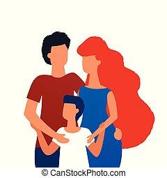 debout, plat, famille, simple, père, isolé, illustration, fils, arrière-plan., conception, ensemble, mère, portrait, blanc, hugging.