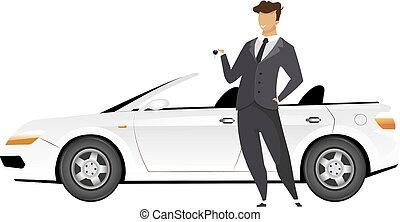 debout, plat, toile, isolé, homme affaires, cabriolet, vendeur, animation., voiture, tenue, character., dessin animé, sourire, nouveau, auto, conception, vecteur, anonyme, clés, illustration, homme, graphique, couleur