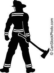 debout, pompier
