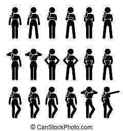 debout, poses., femme, attitudes, fondamental