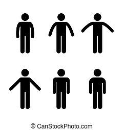 debout, position, homme, divers, gens
