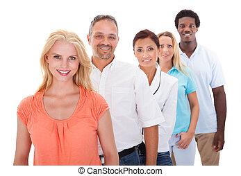 debout, rang, groupe, multi-ethnique, gens