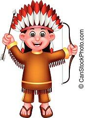 debout, rigolote, indien, onduler, apporter, archer, rire, girl, dessin animé