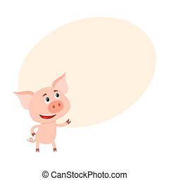 debout, rigolote, peu, haut, cochon, regarder, deux, jambes